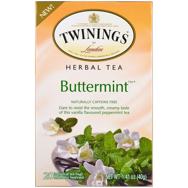 Twinings, Herbal Tea, Buttermint, Caffeine Free , 20 Individual Tea Bags, 1.41 oz (40 g)