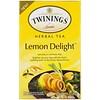 Twinings, ハーブティー、レモンデライト、カフェインフリー、ティーバッグ20個、1.41オンス (40 g)