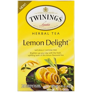 Twinings, Herbal Tea, Lemon Delight, Caffeine Free, 20 Individual Tea Bags, 1.41 oz (40 g)