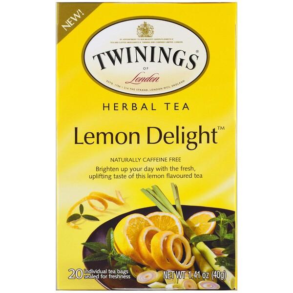 Twinings, ハーブティー、レモンデライト、カフェインフリー、ティーバッグ20個、1.41オンス (40 g) (Discontinued Item)