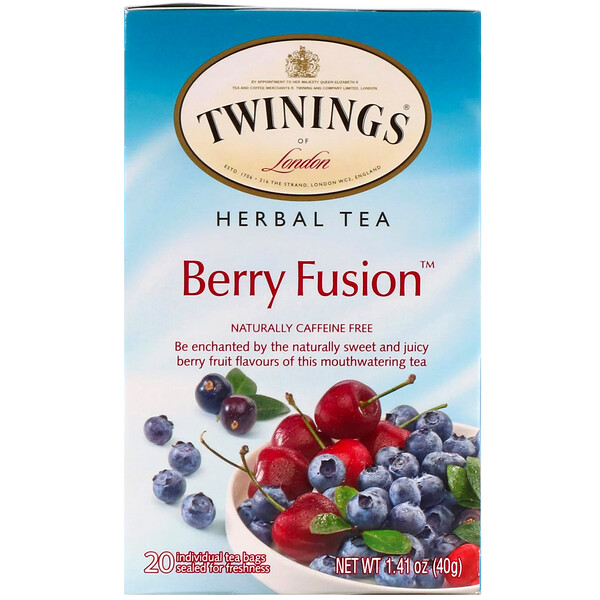 Herbal Tea, Berry Fusion, Caffeine Free, 20 Tea Bags, 1.41 oz (40 g)