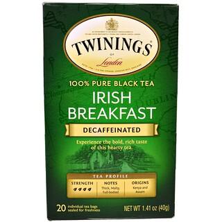 Twinings, 100%純紅茶,愛爾蘭早餐,脫咖啡因,20茶袋,每份1.41盎司(40克)