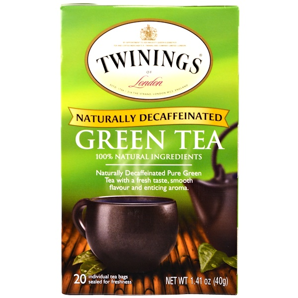 Twinings, Green Tea, Naturally Decaffeinated, 20 Tea Bags, 1.41 oz (40 g) Each (Discontinued Item)