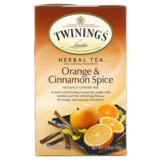 Twinings, Herbal Tea, Orange & Cinnamon Spice, Caffeine Free, 20 Tea Bags, 1.41 oz (40 g)