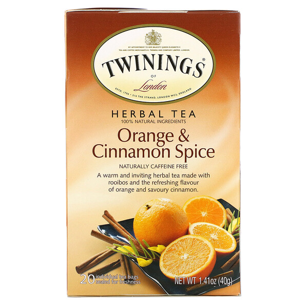 Kräutertee, Orange & Zimt, von Natur aus koffeinfrei, 20 einzeln verpackte Teebeutel, 40 g