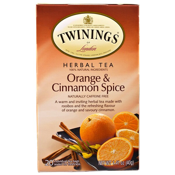 Twinings, Herbal Tea, Orange & Cinnamon Spice, Naturally Caffeine Free, 20 Individual Tea Bags, 1.41 oz (40 g)