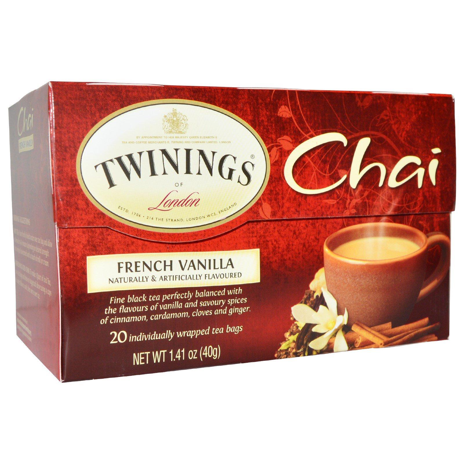 Twinings, Chai, French Vanilla, 20 Tea Bags, 1.41 oz (40 g)