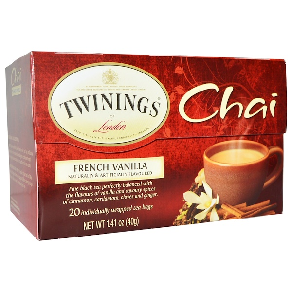 Twinings, Chai, French Vanilla, 20 Tea Bags, 1.41 oz (40 g) (Discontinued Item)