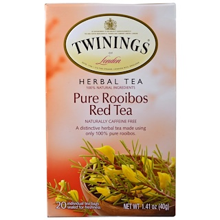 Twinings, Herbal Tea, Pure Rooibos Red Tea, Caffeine Free, 20 Tea Bags, 1.41 oz (40 g)