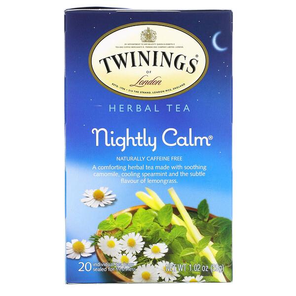 Herbal Tea, Nightly Calm, Caffeine Free, 20 Tea Bags, 1.02 oz (29g)