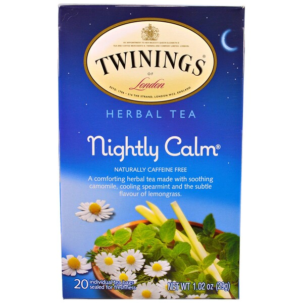 Herbal Tea, Nightly Calm, Naturally Caffeine Free, 20 Tea Bags, 1.02 oz (29g)