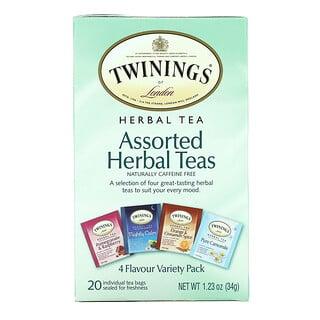 Twinings, Assorted Herbal Teas, Variety Pack, Caffeine Free, 20 Tea Bags, 1.23 oz (34 g)
