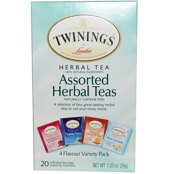 Twinings, Assorted Herbal Teas, Variety Pack, Caffeine Free, 20 Tea Bags, 1.23 oz (34 g)