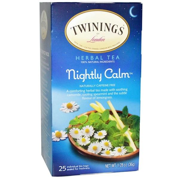 Twinings, Herbal Tea, Nightly Calm, Caffeine Free, 25 Tea Bags, 1.28 oz (36 g) (Discontinued Item)