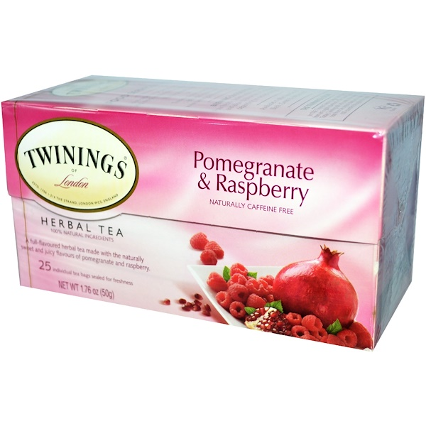 Twinings, Herbal Tea, Pomegranate & Raspberry, Caffeine Free, 25 Tea Bags, 1.76 oz (50 g) (Discontinued Item)