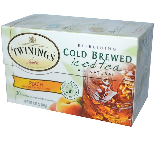 Twinings, Cold Brewed Iced Tea, Peach, 20 Tea Bags, 1.41 oz (40 g)