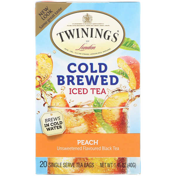 Cold Brewed Iced Tea, Peach, 20 Tea Bags, 1.41 oz (40 g)