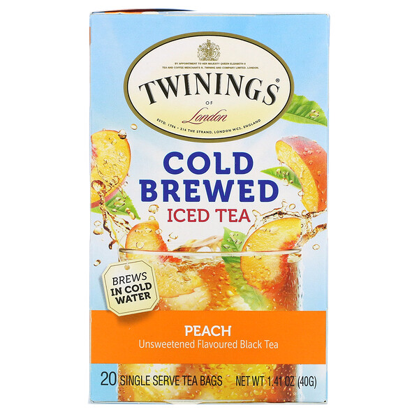 Twinings, Cold Brewed Iced Tea, Unsweetened Flavoured Black Tea, Peach, 20 Tea Bags, 1.41 oz (40 g)