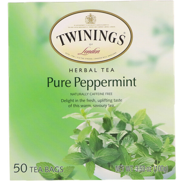 Twinings, Herbal Tea, Pure Peppermint, Caffeine Free, 50 Tea Bags, 3.53 oz (100 g)