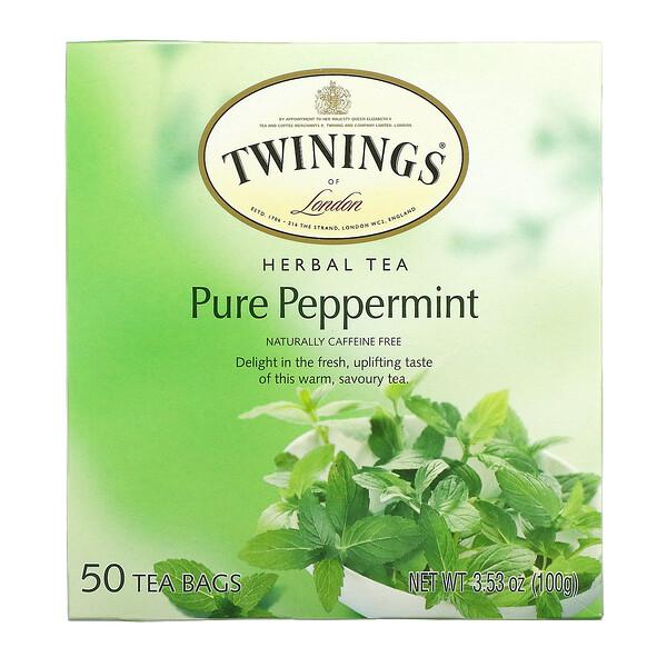 Herbal Tea, Pure Peppermint, Caffeine Free, 50 Tea Bags, 3.53 oz (100 g)