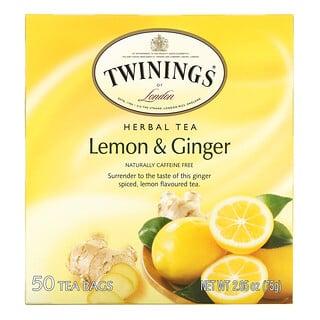 Twinings, Herbal Tea, Lemon & Ginger, Caffeine Free, 50 Tea Bags, 2.65 oz (75 g)