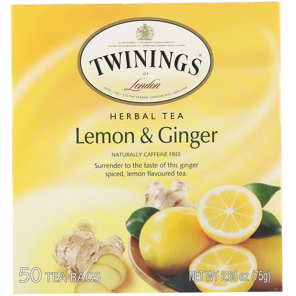 Twinings, Herbal Tea, Lemon & Ginger, Caffeine Free, 50 Tea Bags, 2.65 oz (75 g)