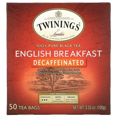 Twinings English Breakfast, Decaffeinated, 50 Tea Bags, 3.53 oz (100 g)