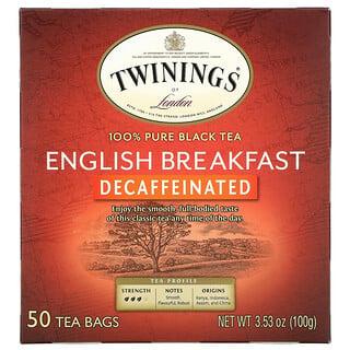 Twinings, 英式早餐,红茶,脱因,50 茶包,3.53 盎司(100 克)