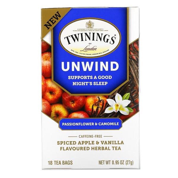 Twinings, شاي عشبي مهدئ، زهرة الآلام وبابونج، نكهة التفاح المتبل والفانيليا، خالٍ من الكافيين، 18 كيس شاي، 0.95 أونصة (27 جم)