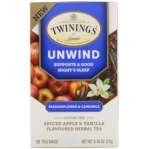 Твайнингс, Unwind Herbal Tea, Passionflower & Chamomile, Spiced Apple & Vanilla, Caffeine Free, 18 Tea Bags, 0.95 oz (27 g) отзывы покупателей