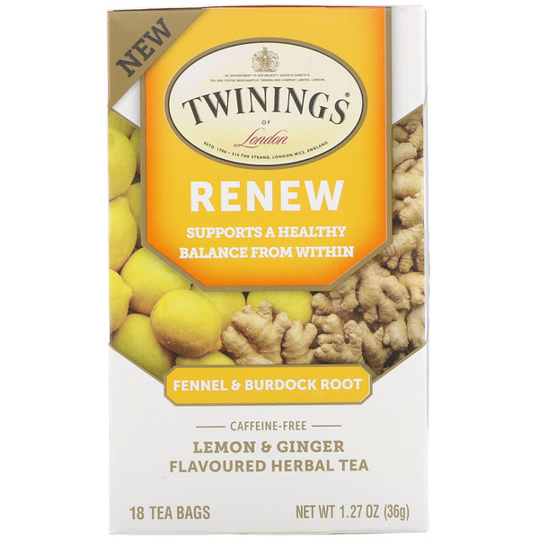 Twinings, Renew Herbal Tea, Fennel & Burdock Root, Lemon & Ginger, Caffeine Free, 18 Tea Bags, 1.27 oz (36 g) (Discontinued Item)