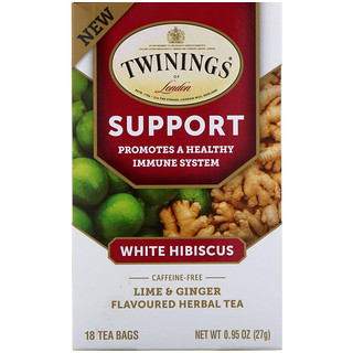 Twinings, Support Herbal Tea, White Hibiscus, Lime & Ginger, Caffeine Free, 18 Tea Bags, 0.95 oz (27 g)