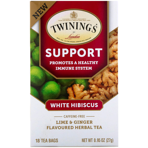 Support Herbal Tea, White Hibiscus, Lime & Ginger, Caffeine Free, 18 Tea Bags, 0.95 oz (27 g)