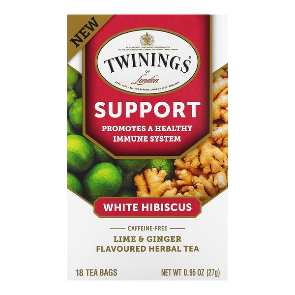 Support Herbal Tea, White Hibiscus, Lime & Ginger, Caffeine Free, 18 Tea Bags, 0.95 oz (27 g)