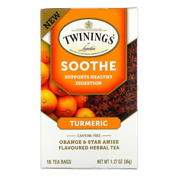Twinings, Soothe Herbal Tea, Turmeric, Orange and Star Anise, Caffeine Free, 18 Tea Bags, 1.27 oz (36 g)