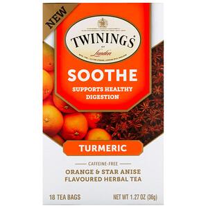Твайнингс, Soothe Herbal Tea, Turmeric, Orange and Star Anise, Caffeine Free, 18 Tea Bags, 1.27 oz (36 g) отзывы покупателей