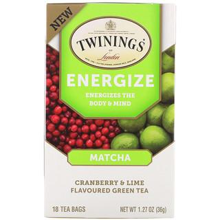 Twinings, Energize Herbal Tea, Matcha, Cranberry & Lime, 18 Tea Bags, 1.27 oz (36 g)