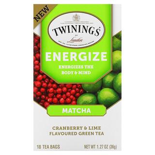 Twinings, Energize Green Tea, Matcha, Cranberry & Lime, 18 Tea Bags, 1.27 oz (36 g)