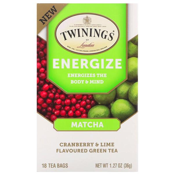 Twinings, תה צמחי אנרגטי, מאצ׳ה, חמוציות וליים, 18 תיונים, 1.27 oz (36 גרם)