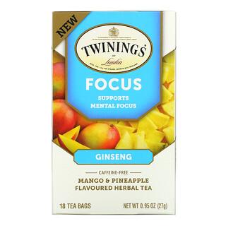 Twinings, Focus Herbal Tea, Ginseng, Mango & Pineapple, Caffeine Free, 18 Tea Bags, 0.95 oz (27 g)