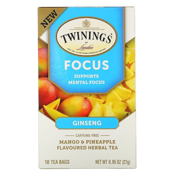 Focus Herbal Tea, Ginseng, Mango & Pineapple, Caffeine Free, 18 Tea Bags, 0.95 oz (27 g)