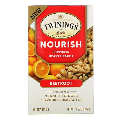 Twinings Nourish Herbal Tea, Beetroot, Orange & Ginger, Caffeine Free, 18 Tea Bags, 1.27 oz (36 g)