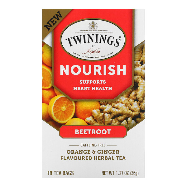 Twinings, Nourish Herbal Tea, Beetroot, Orange & Ginger, Caffeine Free, 18 Tea Bags, 1.27 oz (36 g)