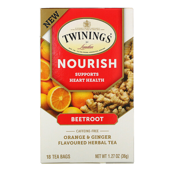 Nourish Herbal Tea, Beetroot, Orange & Ginger, Caffeine Free, 18 Tea Bags, 1.27 oz (36 g)