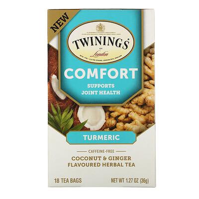 Twinings Comfort Herbal Tea, Turmeric, Coconut & Ginger, Caffeine Free, 18 Tea Bags, 1.27 oz (36 g)