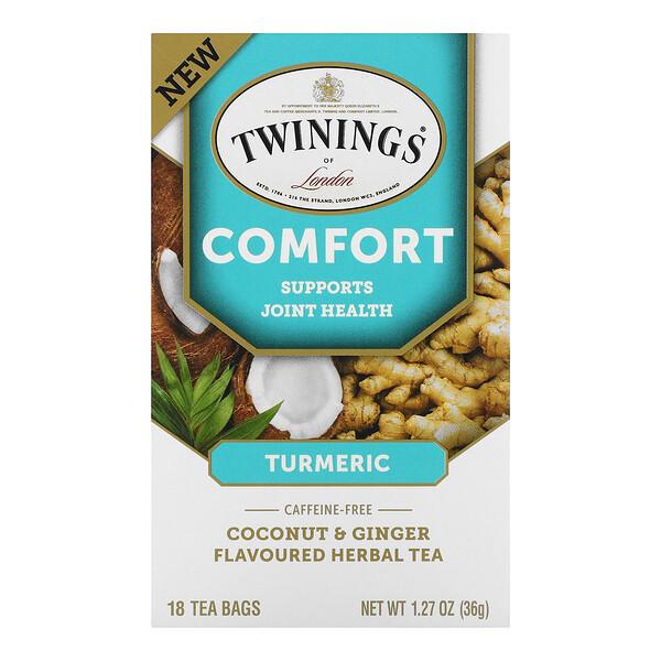 Comfort Herbal Tea,  Turmeric, Coconut & Ginger, Caffeine Free, 18 Tea Bags, 1.27  oz (36 g)