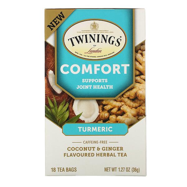 Twinings, Comfort Herbal Tea, Turmeric, Coconut & Ginger, Caffeine Free, 18 Tea Bags, 1.27 oz (36 g)
