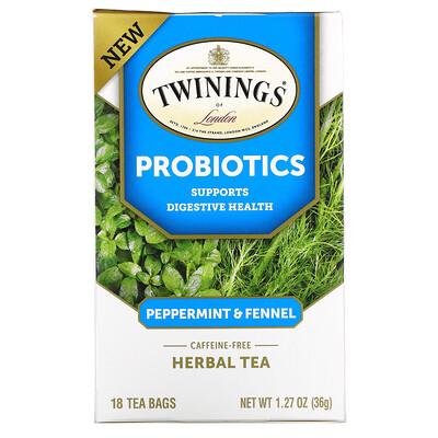 Twinings Probiotics Herbal Tea, Peppermint & Fennel, Caffeine-Free, 18 Tea Bags, 1.27 oz (36 g)