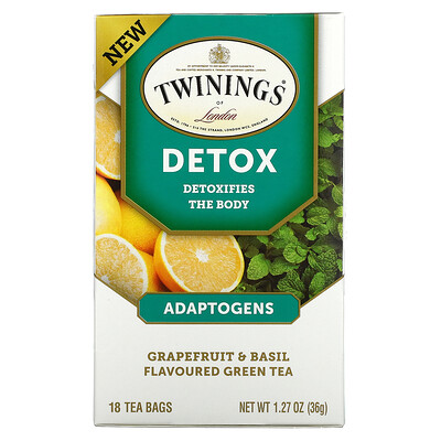 Twinings Detox, Adaptogens, Grapefruit & Basil Flavored Green Tea, 18 Tea Bags, 1.27 oz (36 g)
