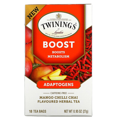 Twinings Boost, Adaptogens, Mango Chili Chai Flavored Herbal Tea, Caffeine Free, 18 Tea Bags, 0.95 oz (27 g)